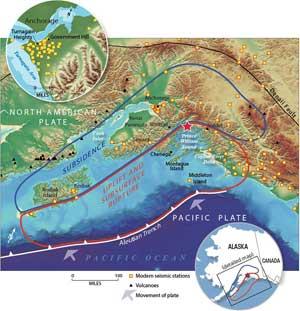 placas tectónicas en Alaska