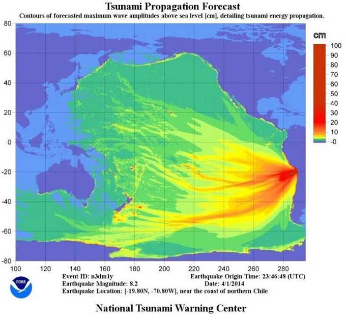 propagación tsunami Chile abril 2014