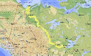 mapa del río Mackenzie, Canadá
