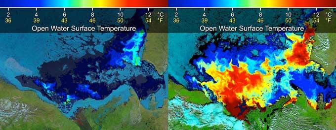 temperaturas superficiales mar de Beaufort