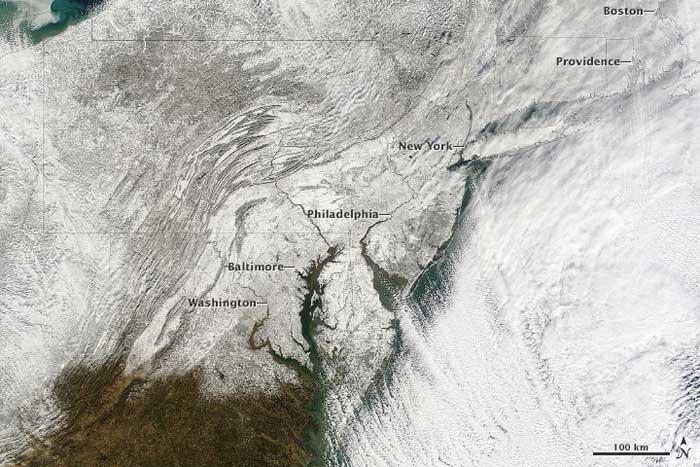 tormenta de nieve en el estre de Estados Unidos desde el espacio