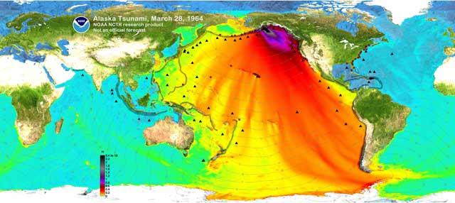 Propagación del tsunami de Alaska de 1964