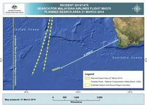 zona de búsqueda del Boeing de Malaysia Airlines