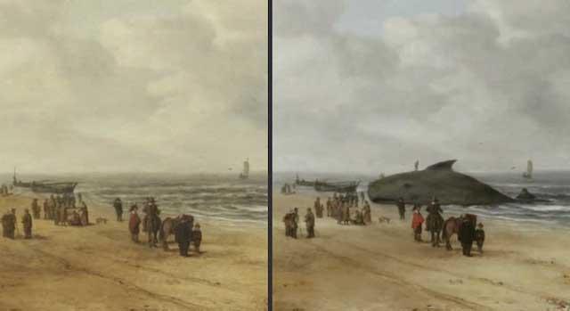 ballena varada oculta en una pintura holandesa
