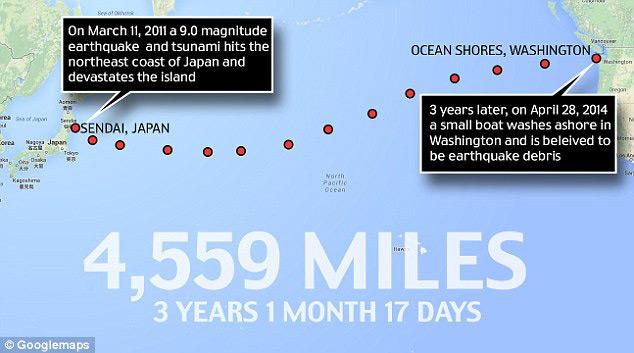 recorrido del bote del tsunami de Japón varado en Washintong