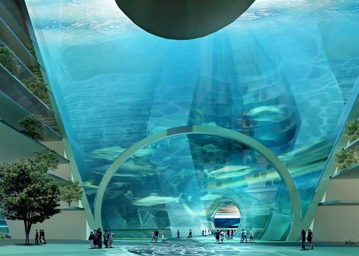 proyecto de ciudad flotante o sumergida en China