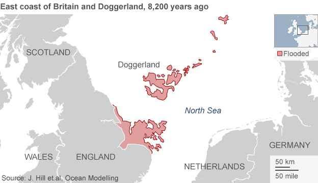 mapa de situación de la isla de Doggerland
