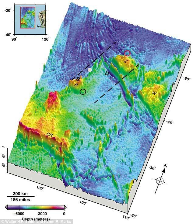 fondo del mar del Océano Índico donde se busca al vuelo MH370