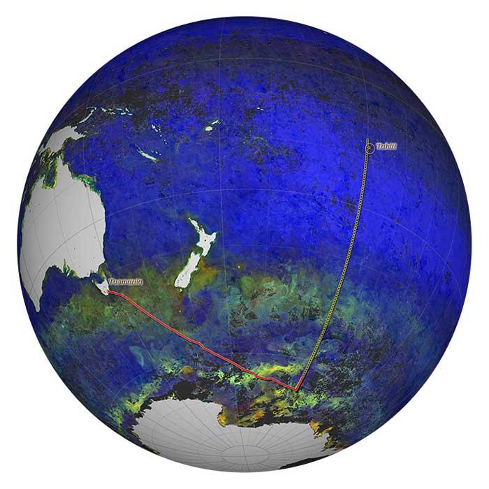 mapa del crucero oceánico Nathaniel B. Palmer