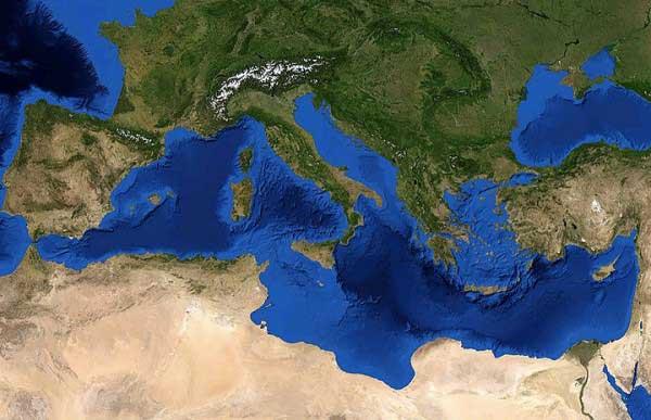 mar Mediterráneo desde satélite