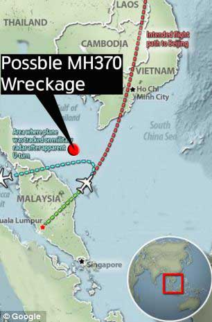 sitio en que piloto de EE.UU. dice que está el vuelo MH370