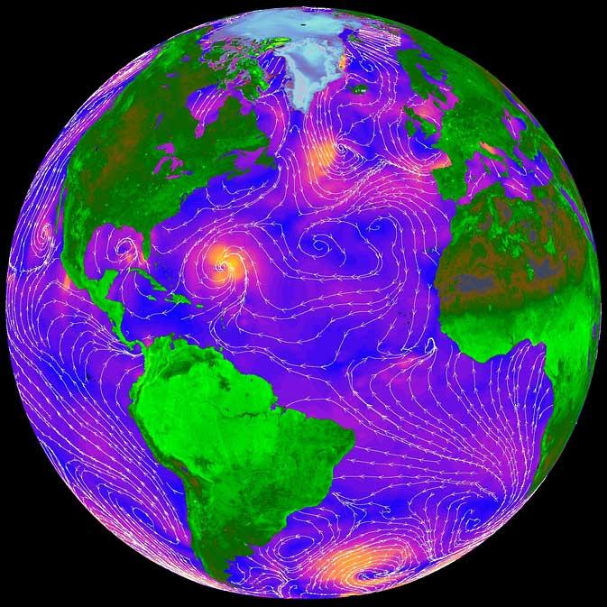 vientos del océano desde el espacio