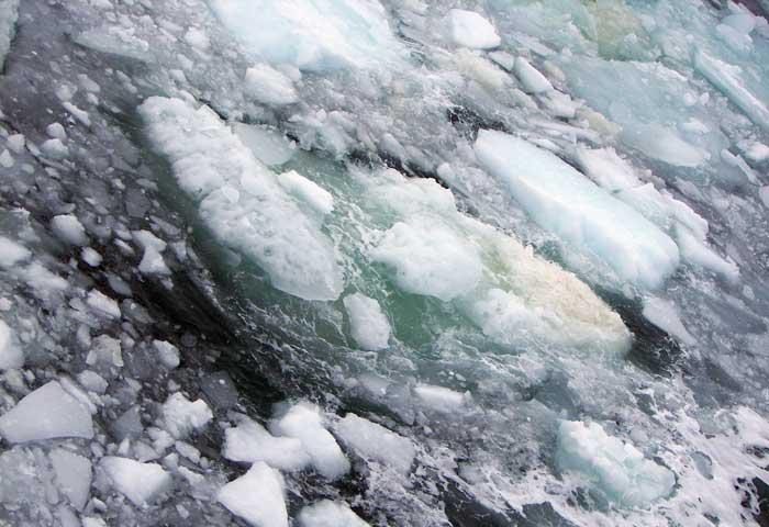 burbujas de metano en el hielo marino del Ártico