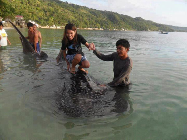 niña filipina cabalgando sobre un tiburón ballena