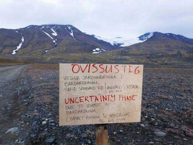 camino cortado en la zona del volcán Bárðarbunga, Islandia