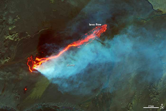 campo de lava Holuhraun, Islandia, desde el espacio