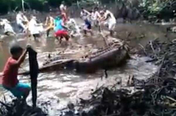 cocodrilo de agua salada capturado en Filipinas