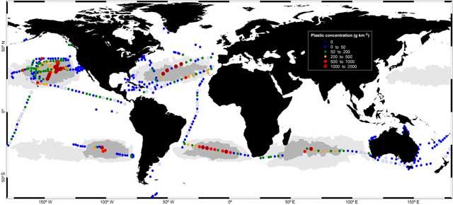 concentración de basura plástica en el océano