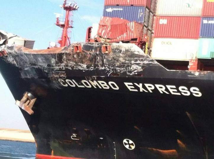 daños en el portacontenedores Colombo Express