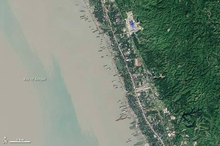 desguace de barcos en Bangladesh desde satélite