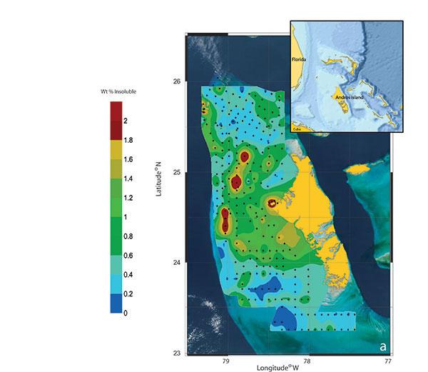 distribución sedimentos insolubles en las Bahamas