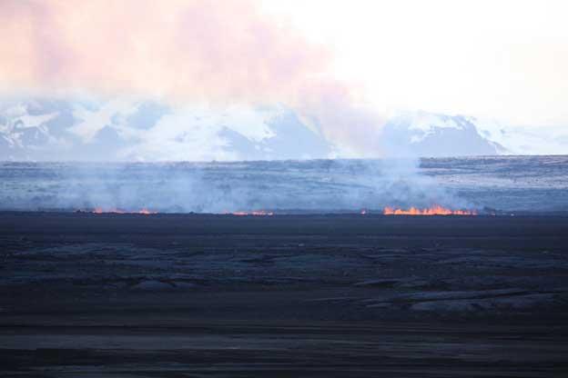 erupción en dos fisuras en Holuhraun, Islandia