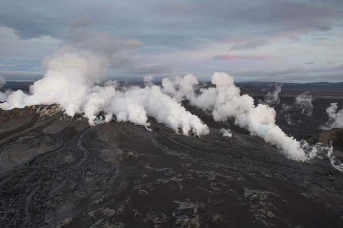 erupción en el glaciar Dyngjujoekull, Islandia
