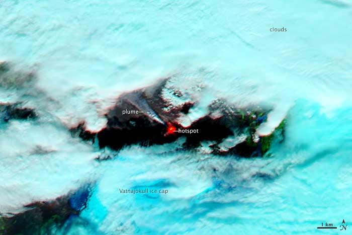 erupción Holuhraun visor infrarrojo desde satélite