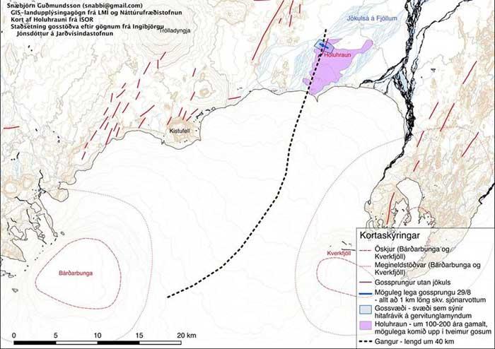 fisura eruptiva en el glaciar Dyngjujoekull, mapa de situación