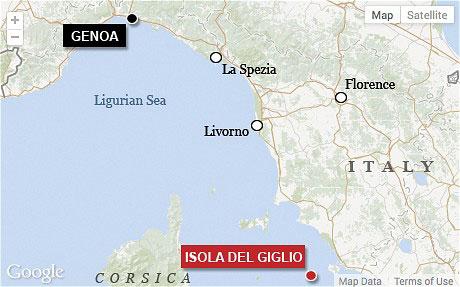 Viaje del Costa Concordia de Giglio a Génova