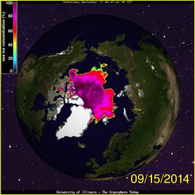 concentración de hielo marino en el océano Ártico, septiembre 2014
