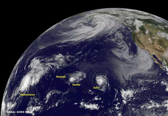 huracanes Julio, Iselle y Genevieve