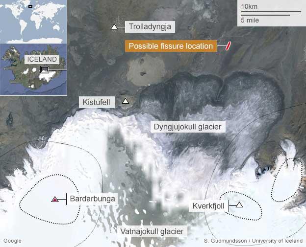 localización fisura eruptiva en Holuhraun