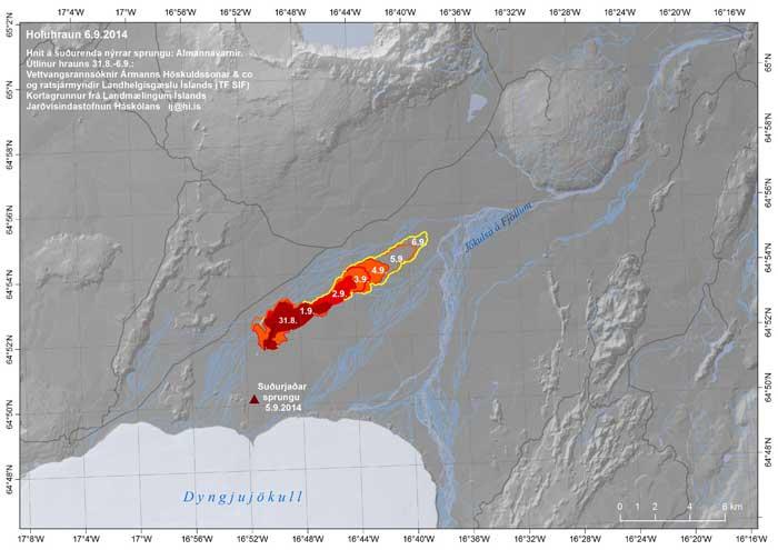mapa desarrollo de la lava en Holuhraun