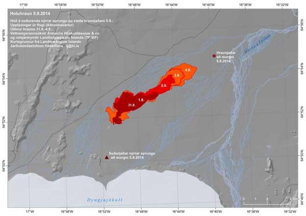 mapa de la erupción en el Hholuhraun