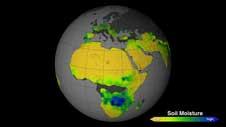 mapa de la humedad del suelo en África - Aquarius