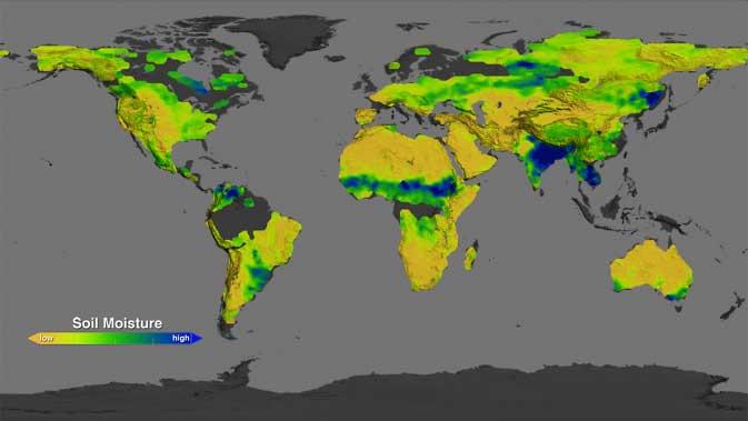 mapa global de la humedad del suelo hecho por Aquarius