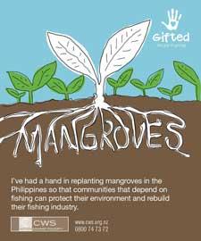 replantación de manglares en Filipinas, cartel