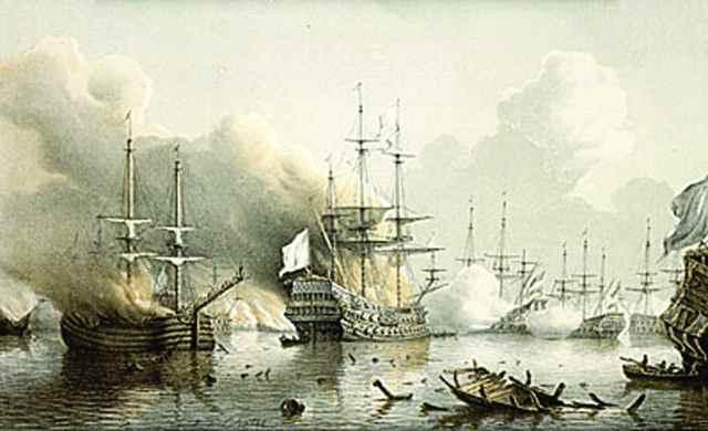 batalla del puerto de Scarborough, Tobago - grabado