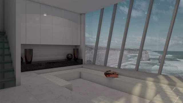 casa australiana en un acantilado, interior
