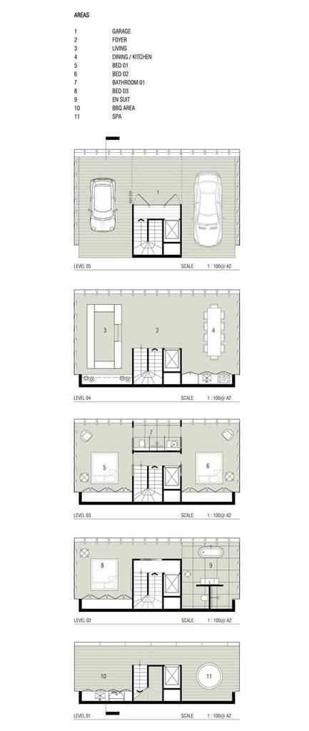 casa australiana en un acantilado, planos