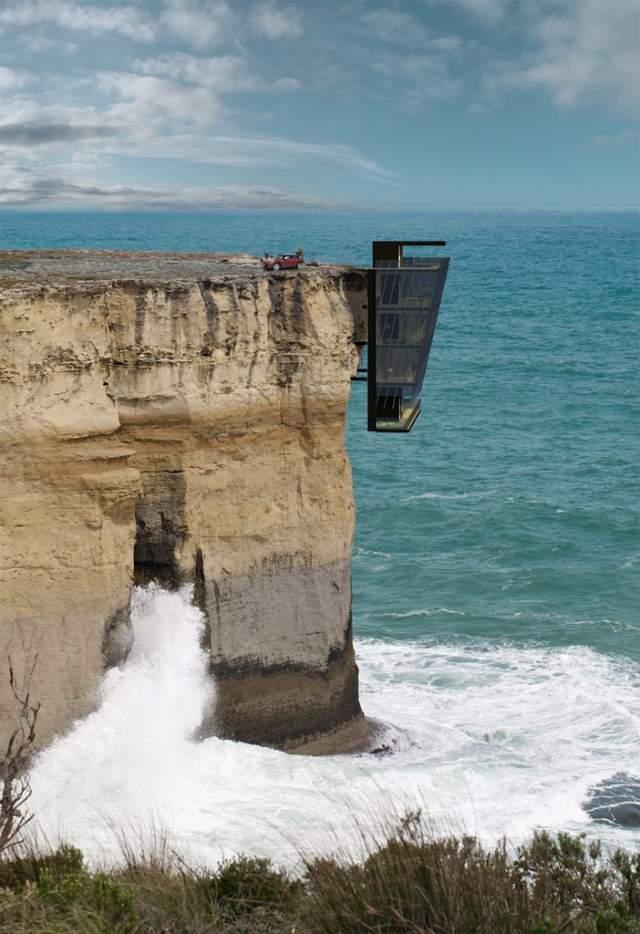 casa australiana en un acantilado