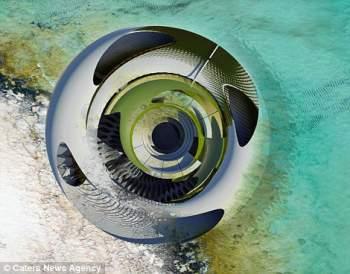 casa hidroeléctrica en forma de concha