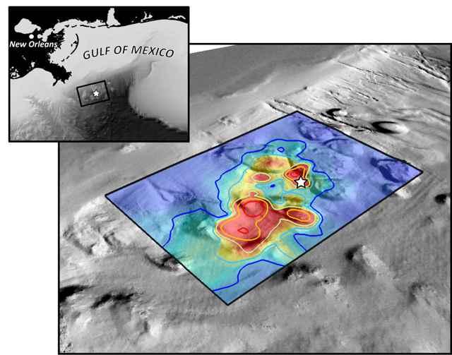localización del petróleo en el fondo del Golfo de México