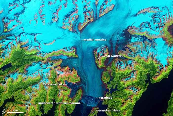 El glaciar Columbia en Julio de 1986