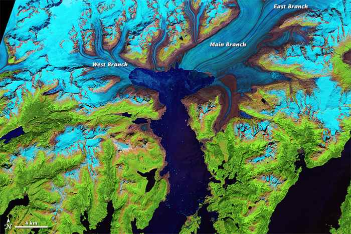 El glaciar Columbia en Julio de 2014