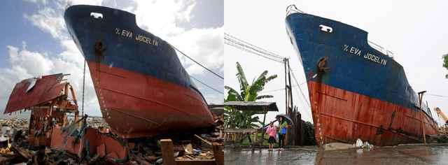 El MV Eva Jocelyn, varado por el Súper tifón Haiyan