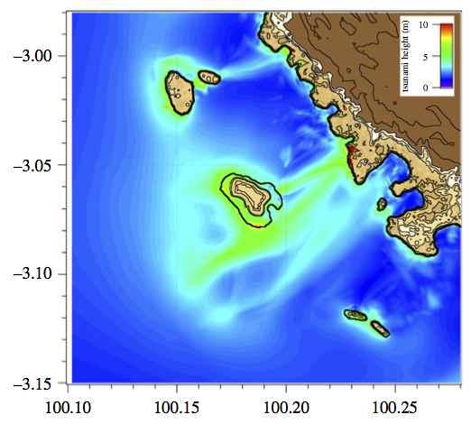 amplificación de un tsunami por una isla