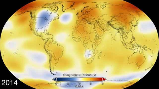 anomalías en la temperaturas de la Tierra en 2014
