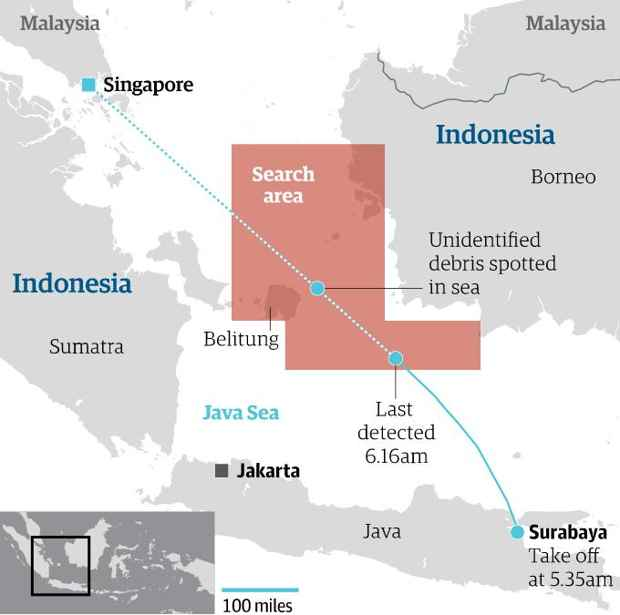 área de búsqueda del avión de AirAsian